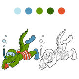 Coloring book for children (crocodile diver and sea star) Stock Photo