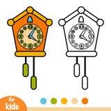 Coloring book, Cuckoo-clock. Coloring book for children, Cuckoo-clock vector illustration