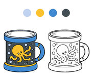 Coloring book for children. A cup with octopus. Coloring book for children, vector coloring page. A cup with octopus Stock Photos