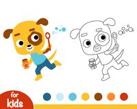 Coloring book, dog and soap bubbles Royalty Free Stock Photos