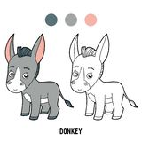 Coloring book, Donkey. Coloring book for children, Donkey vector illustration