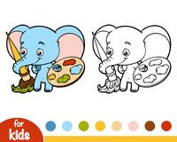 Coloring book, elephant with paints and a brush. Coloring book for children, elephant with paints and a brush Stock Photo