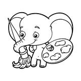 Coloring book, elephant with paints and a brush Stock Photos