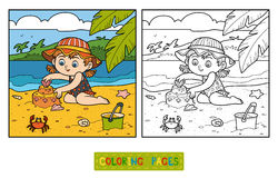 Coloring book for children, girl builds a sand castle Royalty Free Stock Photos