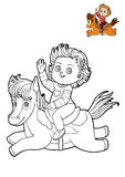Coloring book for children, Girl and horse Stock Image