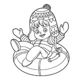 Coloring book for children, girl riding on the tubing. Coloring book for children, Happy girl riding on the tubing, inflatable sled Stock Image