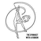 Coloring book, The gymnast with a ribbon. Coloring book for children, The gymnast with a ribbon Royalty Free Stock Photos