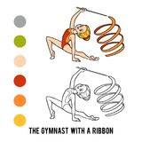 Coloring book, The gymnast with a ribbon. Coloring book for children, The gymnast with a ribbon Royalty Free Stock Photography