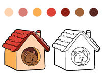 Coloring book for children: hamster and house Stock Image