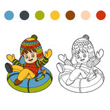 Coloring book for children, girl riding on the tubing. Coloring book for children, Happy girl riding on the tubing, inflatable sled Royalty Free Stock Photo
