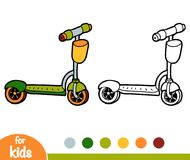 Coloring book, Kick scooter. Coloring book for children, Kick scooter royalty free illustration