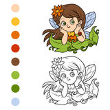 Coloring book for children: little fairy. Girl Stock Images
