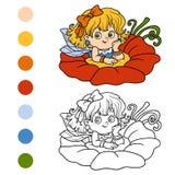 Coloring book for children: little fairy. Girl Stock Image