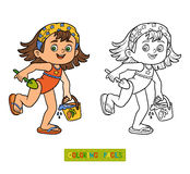 Coloring book for children. Little girl on the beach Stock Photography