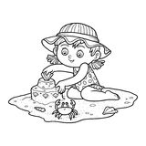 Coloring book for children. Little girl on the beach Royalty Free Stock Image
