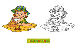 Coloring book for children. Little girl on the beach Stock Photos