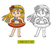 Coloring book for children. Little girl on the beach Stock Photo