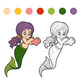 Coloring book for children (little girl mermaid) Royalty Free Stock Image