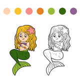 Coloring book for children (little girl mermaid) Royalty Free Stock Images