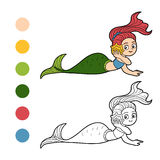 Coloring book for children (little girl mermaid) Royalty Free Stock Photo
