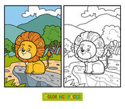 Coloring book for children. Little Lion in Africa Royalty Free Stock Photography