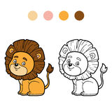 Coloring book for children, little lion Royalty Free Stock Image
