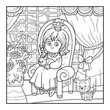 Coloring book for children. Little princess sitting on a throne Royalty Free Stock Image