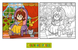 Coloring book for children. Little princess sitting on a throne Stock Photography