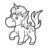 Coloring book for children, little unicorn Royalty Free Stock Images