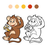 Coloring book for children: monkey Royalty Free Stock Photo