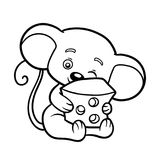 Coloring book, Mouse. Coloring book for children, Mouse vector illustration