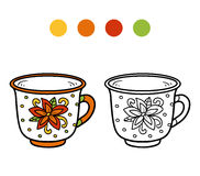 Coloring book for children. A mug with flower Royalty Free Stock Photography