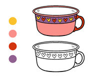 Coloring book for children. A mug with heart pattern Royalty Free Stock Photo