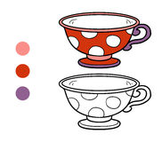 Coloring book for children. A mug with polka dots Stock Images
