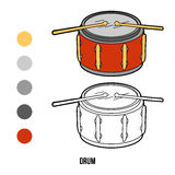 Coloring book for children: music instruments (drum) Royalty Free Stock Photos