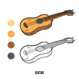 Coloring book for children: music instruments (guitar) Stock Photos