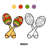 Coloring book for children: music instruments (maracas) Stock Images