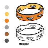 Coloring book for children: musical instruments (tambourine) Stock Photo