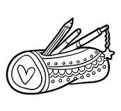 Coloring book, Pencil case. Coloring book for children, Pencil case royalty free illustration