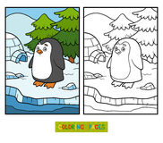 Coloring book for children (penguin and background). Coloring book for children with cute animals (penguin and background stock illustration