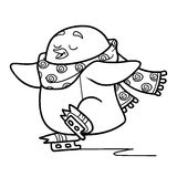 Coloring book for children, penguin on skates Royalty Free Stock Photos