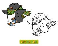 Coloring book for children, penguin on skates. Coloring book for children, cute penguin on skates royalty free illustration