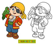 Coloring book for children (pirate boy). Coloring book, education game for children (pirate boy and parrot Stock Photos