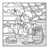 Coloring book for children. Pirate on the deck of a ship. Coloring book for children. Pirate and Parrot are on the deck of a ship Stock Photo