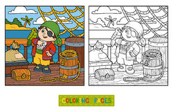 Coloring book for children. Pirate on the deck of a ship Royalty Free Stock Photo