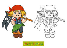 Coloring book for children (pirate girl and flag) Stock Images