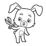 Coloring book, rabbit and scissors Royalty Free Stock Photo