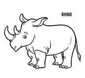 Coloring book, Rhino. Coloring book for children, Rhino stock illustration