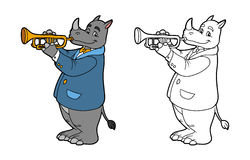 Coloring book for children: rhino and trumpet Stock Photo