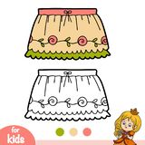 Coloring book, Ruffled skirt. Coloring book for children, Ruffled skirt royalty free illustration